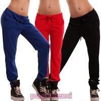 Pantaloni donna tuta cavallo basso elastico cotone fitness sport nuovi AS-1215