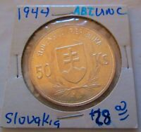 Slovakia 50 Korun Silver Coin 1944 5th Anniversary of Independence