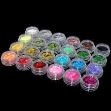 24 Colours Sparkling Glitter Dust Powder Nail Art Decoration 1mm