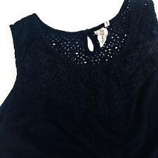 Aventura Clothing Pilar Tank Organic Cotton Black Size XL Eyelet Detail
