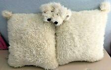 "Labradoodle Goldendoodle Cream Shaggy Dog Pillow Set of 2 15"" x 17"""