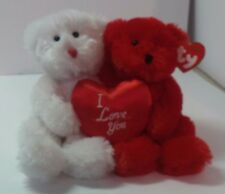 Ty Red & White Teddy bears Clasic Truly Yours red heart pillow I love you MWMT