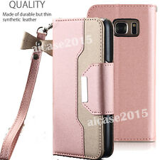 Rose Gold Case for Samsung Galaxy S7 EDGE Phone - Flip Wallet + Mirror