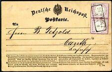 DR 1872 1im PAAR auf POSTKARTE SCHMÖLZ nach KANTH 500€++(S7949