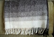 Rusk & Finch Throw Blanket Brown Cream Plaid Pure New Wool fringe ends