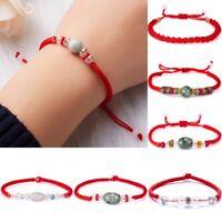 Women Men Handmade Lucky Beaded Red String Adjustable Braided Lovers Bracelet