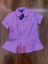 Polo Ralph Lauren Girl's Pink Stripes Flared Shirt For 12 Years BNWT