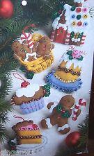 Bucilla SANTA'S SWEET SHOP Felt Christmas Ornaments Kit CANDY OOP 86187 RARE