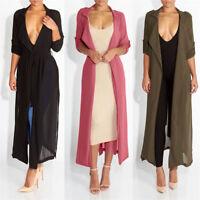 In UK Women Lady Chiffon Maxi Open Kimono Plain Long Sleeve Outwear Tops Blouse