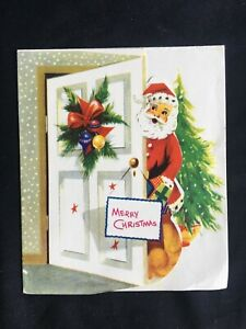 Vintage Collectable Greeting Card - c1960 - Santa Coming In Door
