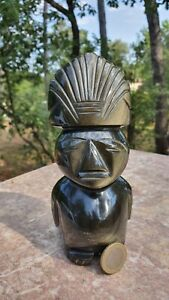 ANCIENNE STATUE SCULPTURE STATUETTE DIVINITE AZTEQUE OBSIDIENNE MEXIQUE MAYA H17