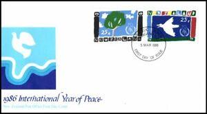 New Zealand 1986 International Year of Peace FDC Wanganui Bureau HS