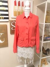 Pre-Owned Women's J. Crew Linen Jacket, Coral, Size Medium
