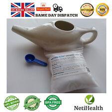 Cerámica Neti Pot + 200g orgánico Neti Sal. nasal Riego Salud ~ Reino Unido Entrega