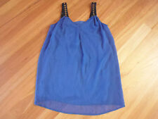 LADIES CUTE BLUE WITH BEADS SLEEVELESS POLYESTER LINED DRESS BY ICE SIZE S 10/12