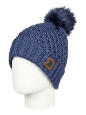 ROXY WOMENS BEANIE HAT.BLIZZARD POLAR FLEECE LINED BLUE WOOLLY BOBBLE CAP 8W 12