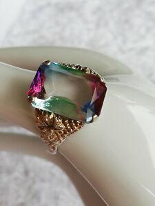Toller Ring mit funkelndem Rheinkiesel Silber Double Größe 54/55 Weinlaub Orn.