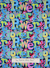Fabric Traditions - Flower Power Retro 1970s Words & Floral on Black YARDS