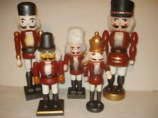 Set of 5 Soldier Nutcracker Christmas Wooden Holiday Wood Red Decoration