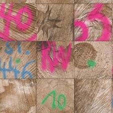 Rasch Wood Block Square Wallpaper Graffiti Motif Faux Effect Realistic 934311