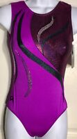 GK TANK ADULT MEDIUM SANGRIA MAGENTA FOIL GYMNASTICS DANCE LEOTARD Sz AM NWT!