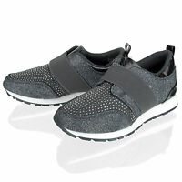 Womens Ladies Sports Casual Sparkly Elastic Strap Slip On Trainers Pumps Shoes