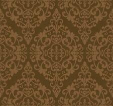 Wallpaper Designer Dark Metallic Gold Damask on Brown Faux Crackle