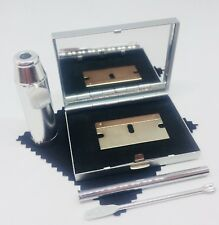 SNUFF TOBACCO KIT BOX SET, METAL MIRROR CASE with Silver BULLET SNORTER