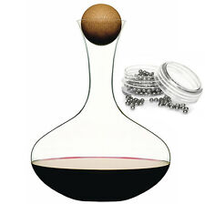 Sagaform Glass Red Wine Decanter With Oak Stopper & Decanter Cleaning Balls Set