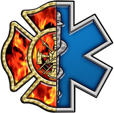 "EMS-FireFighter, Maltese Cross 3.75"" Reflective custom decal  #FD33"