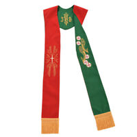 Blessume Clergy Reversible Stole Green/Red Stole Priest IHS Embroidered Stole