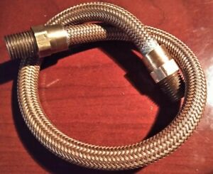 "1/4"" NPT x 14"" Braided Reinforced Flexible Hose Line All Copper, 16"" OAL."