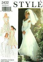 STYLE 2432 Misses Bridal Bridesmaid Gown Wedding Dress pattern sz 8-18 UNCUT FF