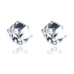 Crystal Cube Earrings 6mm - Made with Swarovski Elements
