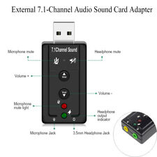 USB 3.5mm Jack Earphone Micphone 3D Stereo 7.1 Channel Audio Adapter Sound Card