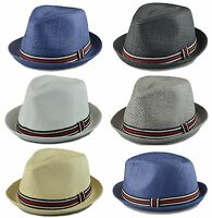 Men's Fedora Cuban Style Upturn Short Brim Fedora Hats Various colors S/M, L/XL