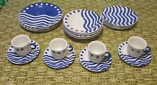 Set 20 White & Blue Dinner Ceramica Quadrifoglio Mediterranean made in Italy