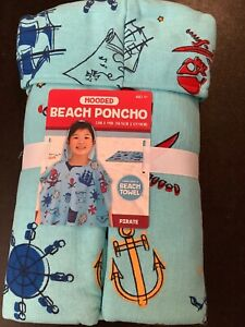 Boys Beach Poncho 23 in x 49 in Turns Into Beach Towel Blue Pirate  New Package