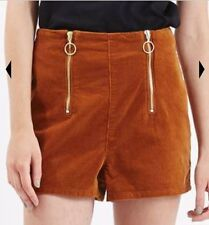 70s vintage inspired TOPSHOP double zip high waist tan cord shorts bnwt size 16