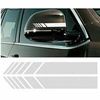 2PC Car Rear View Mirror Sticker Racing Strips Decor Decal Vinyl 15*2.4CM White