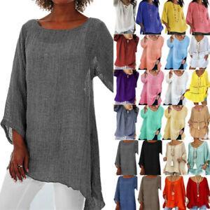 Plus Size Womens Long Sleeve Blouse Tunic Tops Casual Kaftan Loose Baggy T-Shirt