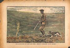 Chasse chasseur chien fusil perdreaux gibier automne de Titoff 1934 ILLUSTRATION