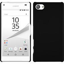 Hardcase für Sony Xperia Z5 Compact Hülle schwarz gummiert + 2 Schutzfolien