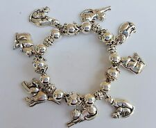 Silvertone Stretch Elastic Bracelet with 8 Cat Charms -- NEW
