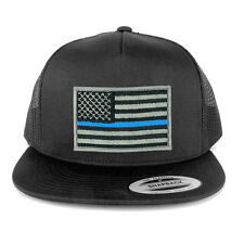 FLEXFIT 5 Panel American Flag Patched Snapback Mesh Cap - Thin Blue Line (6006)