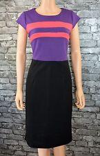 Womens Elegant Cap Sleeve Purple Black Sleeveless Milano Pencil Dress UK Size 10