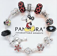 Authentic Pandora Silver Bracelet with Mickey Mouse & Disney European Charms...