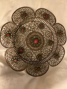 """Antique 7"""" Coral Turquoise Studded Inlay Brass Filigree Dish Plate"""
