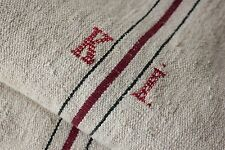Antique GRAIN SACK feedsack feedbag lovely KI  burgundy + black stripe old hemp
