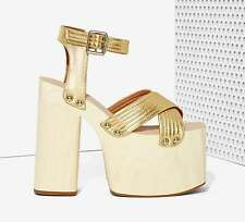 NEW JEFFREY CAMPBELL $170 GOLD BOOGALOO LEATHER PLATFORM SHOES SZ 6.5
